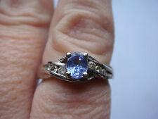 BEAUTIFUL 14KT WHITE GOLD DIAMOND AND TANZANITE RING
