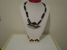 """Made in the Philippines set woman w/ hat pearlized 24"""" necklace & post earrings"""