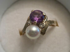 UNIQUE COLOR CHANGE PURPLE SAPPHIRE AND 6mm PEARL 10K YELLOW GOLD BYPASS RING