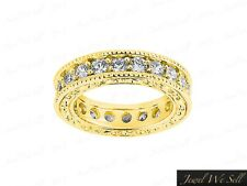 Ring 14k Yellow Gold H Si2 1.25Ct Round Diamond Antique Milgrain Eternity Band