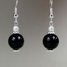 Black pearls silver short drop dangle earrings wedding bridesmaid gift