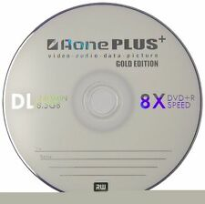 AONE DVD+R DUAL LAYER DVD 2 DISC PACK RECORDABLE INKJET PRINTABLE 8.5 GB DVDs