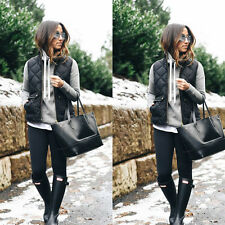 Women Winter Slim Fleece Warm Parka Trench Coat Sleeveless Jacket Vest Waistcoat