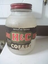 VINTAGE COFFEE TIN H & C ADVERTISING COFFEE JAR WITH LID ESTATE FIND
