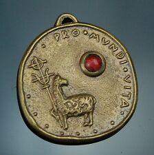 Antique Brass Medal Pendant Agnus Dei Holy Eucharist - Congress Munich