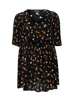 Evans ladies tunic blouse top plus size 14 to 32 blue black spring print flared