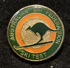 AUSTRALIAN SKI FEDERATION SKI TEST Skiing Pin AUSTRALIA Souvenir Travel
