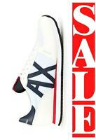 ARMANI EXCHANGE A|X LOGO Mens STAND OUT Retro Low Trainers Sneakers White $140