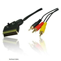 Switched Scart Plug to 3 RCA Plugs Cable Lead 1.5M IN & OUT SWITCH