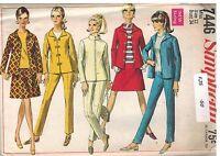 7446 UNCUT Vintage Simplicity Sewing Pattern Misses Jacket Skirt Pants 1960's 12