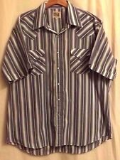 ELY CATTLEMAN MEN'S COTTON SHORT SLEEVE STRIPED  WESTERN PEARL SNAPS  SZ 171/2