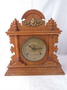 Antique Lion Head Column Oak Mantle Clock As Is