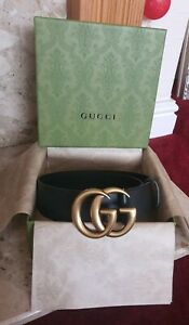 GUCCI Double G Black Leather Belt With Box 100cm/ Uk 8-10