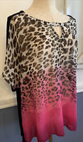 1X AGB Woman Sheer Black and Animal Print Short Sleeve Top Plus Size