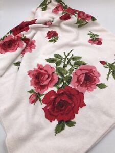 Vintage White Floral Beach Towel - Pink & Red Roses Bath Pool Roses