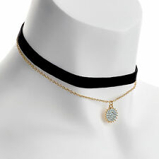 Black Velvet Choker Necklace With Gold Colour Chain RRP £5.95 - Brand New + Tags