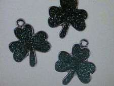 12 Enamel GLITTER SHAMROCK CHARMS shamrocks St Patricks Day FREE SH clover
