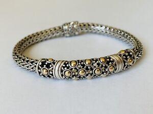 JOHN HARDY Sterling Silver 18K Yellow Gold Jaisalmer Wheat Chain Dot Bracelet