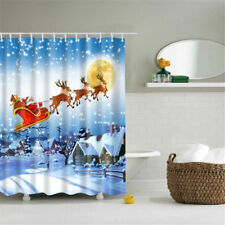Christmas Waterproof Bathroom Shower Curtain Xmas Polyester 180x180cm 12 Hooks