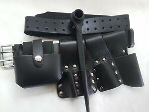 Scaffolding Leather Belt & Black Ratchet 17 21mm Spanner Tools Level Tape Holder