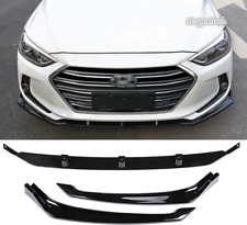 For Hyundai Elantra 2017-2018 ABS BLACK Front Bumper Cover Trim Molding 3PCS