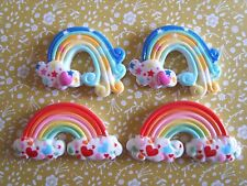 4x Rainbow Cloud Heart Star Kawaii Flatback Resin Cabochon Scrapbooking Craft UK