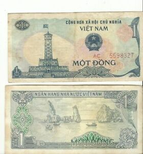 Vietnam Viet Nam money banknote One Mot Dong showing Building and boats