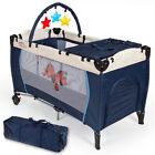 Babybett Kinder Baby Reisebett Kinderreisebett Einlage Navy blau
