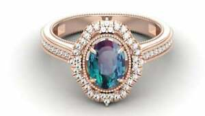 10K Rose Gold Color Changing Blue Alexandrite Engagement Bridal Ring Custom Ring