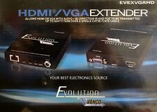 NEW Vanco EVEXVGAHD HDMI/VGA Extender, Send HDMI or VGA up to 164ft on CAT5/CAT6