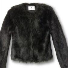 ALTUZARRA Black Shaggy Faux Fur Coat Jacket Size SMALL