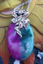Magical FAIRY Pink & Aqua Blue PENDANT Fae, Faerie Folk
