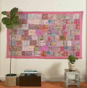 Indian 60*40 inch Cotton Peach Patchwork Vintage Boho Home Decor Wall Hanging