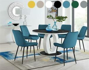 Giovani Round Black 120cm High Gloss Dining Table with 4 or 6 Modern Chairs