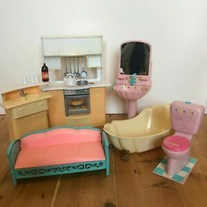 Barbie Sized Furniture Bundle - Kitchen, Bathroom and a Sofa