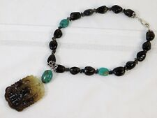 Jade Bead Sterling Silver Necklace Vtg Chinese Carved Smoke Quartz Turquoise
