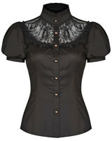 Punk Rave Womens Steampunk Blouse Top Black Red Lace VTG Victorian Gothic Shirt