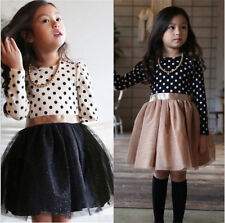 Dot Long Sleeve Dress For Girls Clothing Child School Daily Wear Unicorn Holiday