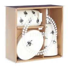 Natural Queen Bee 3 Piece Bathroom Set Dolomite Tumbler Soap Lotion Dispenser