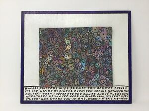 "Rare Howard Finster Wipe Rag Art. Painted wood panel, fabric. 12"" x 14 1/8""."