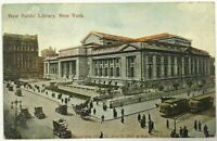 Postcard NY New York City New Public Library Street View Cars 1910 Geo P. Hall