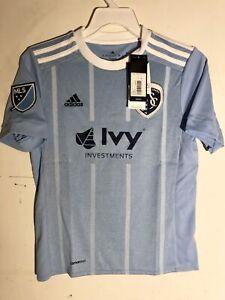 Adidas Youth MLS Jersey Kansas City Sporting Team Light Blue sz XS