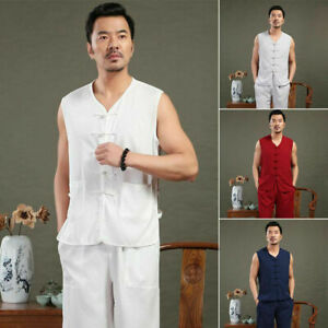 Mens Traditional Chinese Tang Suit Sleeveless Kungfu Taichi Martial Arts Uniform