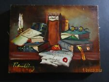 oil acrylic painting Still Life books Glasses Signed listed artist P. Snelling