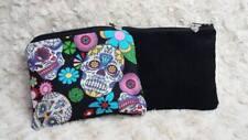 Handmade fabric zipped purse, coin purse, coin bag, wallet, Black sugar skull.