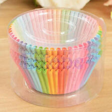 100pcs Rainbow Paper Cake Cupcake Cup Cases Baking Muffin Dessert Wedding Party