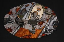 Vintage Style Unisex Multicolored Lightweight Boater Hat with Artsy Print (S391)