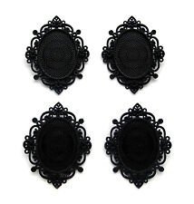 4 BLACK metallic Color IMPERIAL 40mm x 30mm CAMEO Costume PENDANT Frame Settings