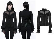Punk Rave Gothic Lolita punta blusa camisa Victorian cordones volantes wly-074cc