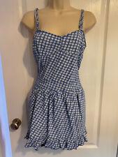 SUPERDRY Blue & white floral denim summer dress - Size L (12/14) NEW